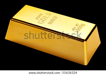 Photo of a 1kg gold bar isolated on a black background - stock photo