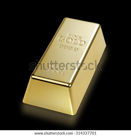 Photo of a 1kg gold bar isolated on a black background with clipping path - stock photo