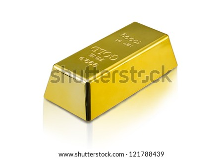 Photo of a 1kg gold bar isolated on a white background with clip