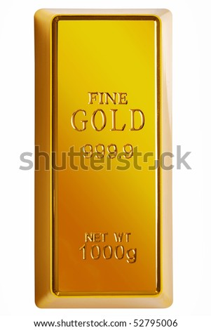 Photo of a 1kg gold bar isolated on a white background with clipping path - stock photo