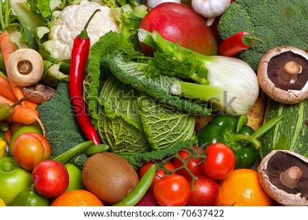 Photo of a large group of fruit and vegetables - stock photo