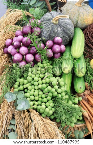 Photo of a large group of  vegetables of Thailand - stock photo
