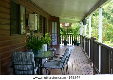 Photo of a long verandah.