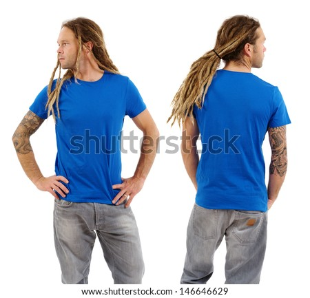 Photo of a male in his early thirties with long dreadlocks and posing with a blank blue shirt.  Front and back views ready for your artwork or designs. - stock photo