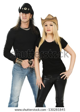 Photo of a man and woman posing with cowboy hats and blank black shirts. Ready for your custom shirt design to be added.
