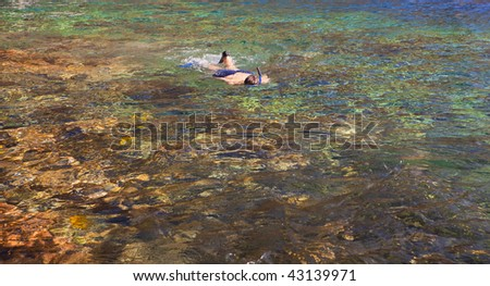 photo of a man snorkeling in a beautiful reef - stock photo