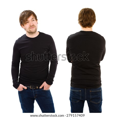 Photo of a man wearing blank black long sleeve shirt, front and back. Ready for your design or artwork. - stock photo