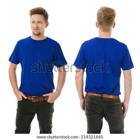 Photo of a man wearing blank blue t-shirt, front and back, tucked into his jeans. Ready for your design or artwork. - stock photo