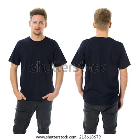 Photo of a man wearing blank dark blue t-shirt, front and back. Ready for your design or artwork. - stock photo
