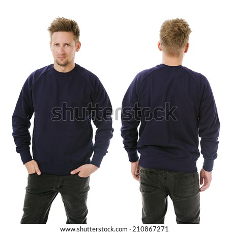 Photo of a man wearing blank dark purple sweatshirt, front and back. Ready for your design or artwork. - stock photo