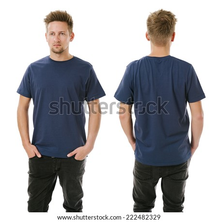 Photo of a man wearing blank navy blue t-shirt, front and back. Ready for your design or artwork. - stock photo