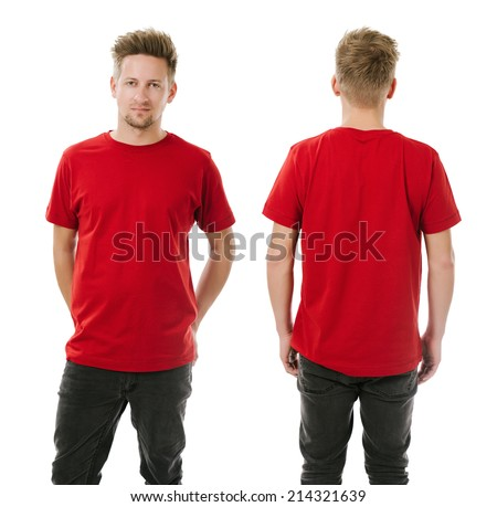 Photo of a man wearing blank red t-shirt, front and back. Ready for your design or artwork. - stock photo