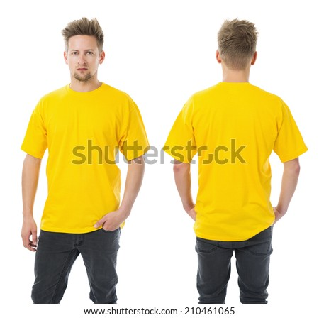 Photo of a man wearing blank yellow t-shirt, front and back. Ready for your design or artwork. - stock photo
