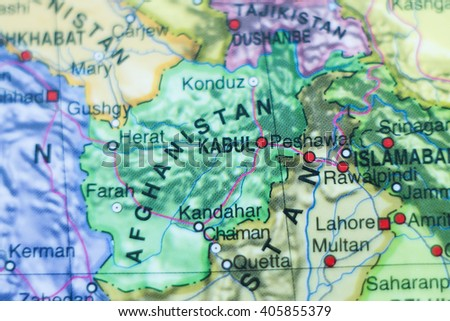 Photo of a map of Afghanistan and the capital Kabul . - stock photo