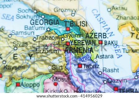 Photo of a map of Armenia and the capital Yerevan . - stock photo