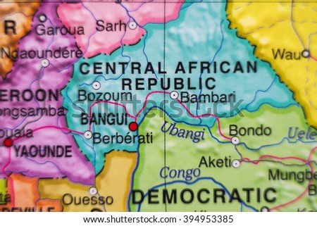Photo of a map of Central African Republic and the capital Bangui .