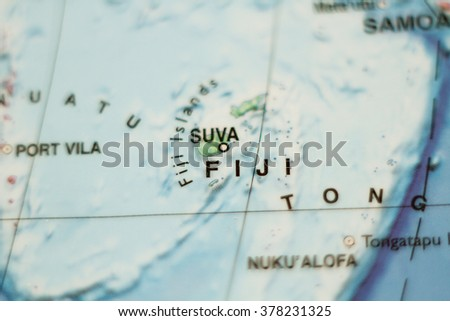 Photo of a map of Fiji and the capital Suva .
