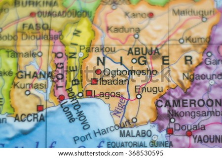 Photo of a map of Nigeria and the capital Abuja .