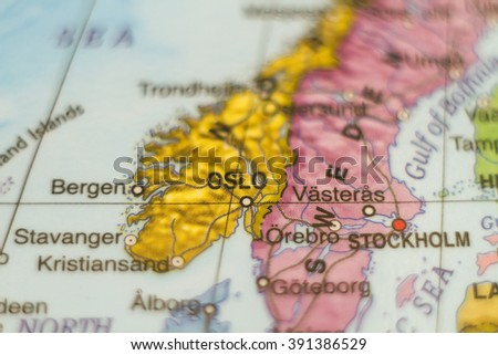 Photo of a map of Norway and the capital Oslo . - stock photo