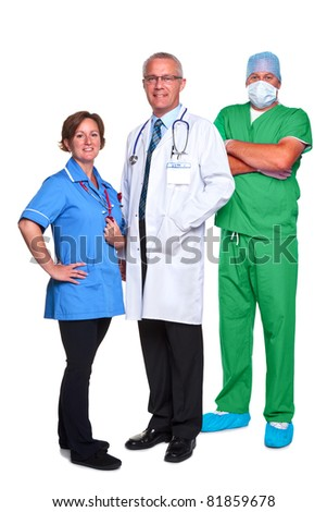 Photo of a medical team, doctor, nurse and surgeon, isolated on a white background. - stock photo