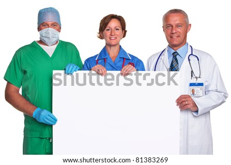 Photo of a medical team holding a blank poster for you to add your own message, isolated against a white background. - stock photo