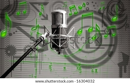 photo of a microphone on music background