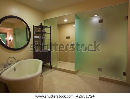 photo of a modern luxury bathroom - stock photo