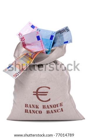 Photo of a money bag full and overflowing Euro banknotes, cut out on a white background. - stock photo