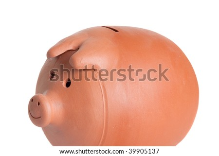 Photo of a money box on a over white background