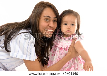 photo of a Mother holding her daughter . - stock photo
