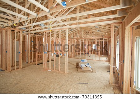 photo of a new home under construction - stock photo