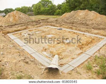 photo of a new house foundation - stock photo