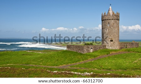 photo of a old irish castle in the west of ireland - stock photo