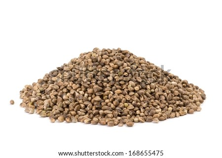 Photo of a pile of hemp seeds on white background - stock photo
