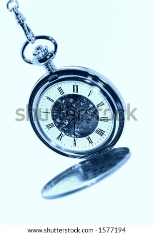 Photo of a Pocketwatch in Cyan Tone - stock photo