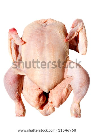 Photo of a raw chicken a over white background