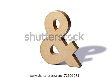 Photo of a recycled cardboard ampersand or and on a white background with shadow.