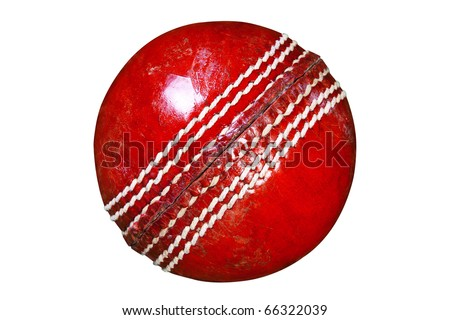 Photo of a red leather cricket ball isolated on white background with clipping path done using pen tool.