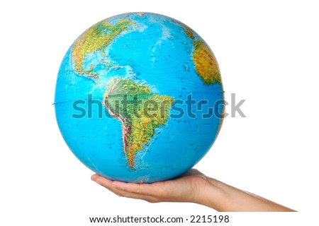 photo of a representation of the planet earth upon hands - stock photo