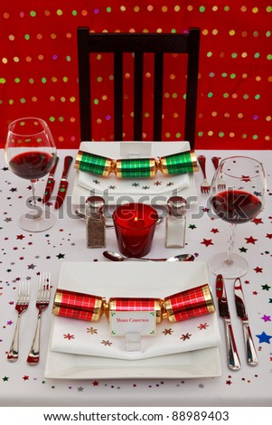 Photo of a restaurant table with Christmas place settings, the name card was designed by myself with space to add your own text.