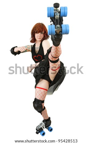 Photo of a roller derby girl kicking her skate up in the air. Isolated on white background. - stock photo