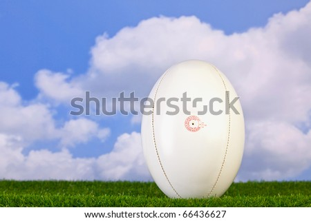 Photo of a rugby ball tee'd up on grass with sky background. - stock photo