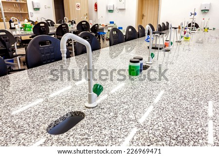 Photo of a school research laboratory. - stock photo