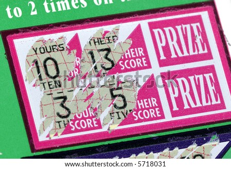 Photo of a Scratched Lottery Ticket - stock photo
