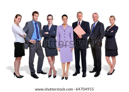 Photo of a seven person business team isolated on a white background with shadows.