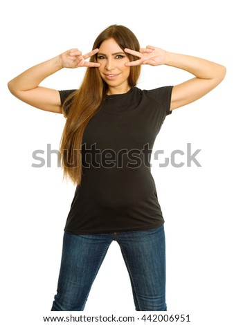 Photo of a sexy brunette woman with blank black shirt, making a pulp fiction v-sign mask. Ready for your design or artwork.