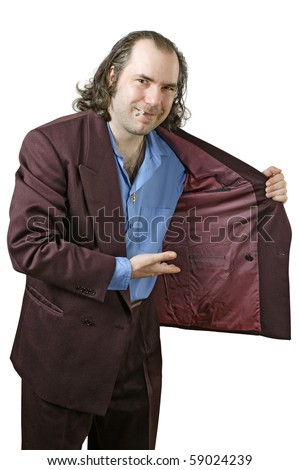 Photo of a sleazy drug dealer showing you what he has in his jacket.  Add your own drugs, merchandise, or whatever your vice my be. - stock photo