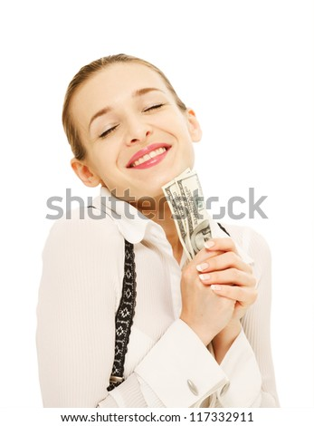 Photo of a smiling young woman with a fan of U.S.Hundred dollar bills in her hand