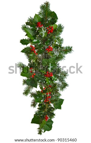 Photo of a straight Christmas garland with holly, red berries, ivy and spruce. Isolated on a white background. - stock photo