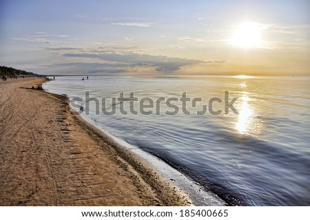 Photo of a sunset at the beach in Jurmala, Latvia. - stock photo